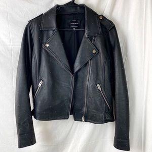 LUCKY BRAND lamb leather studded moto jacket